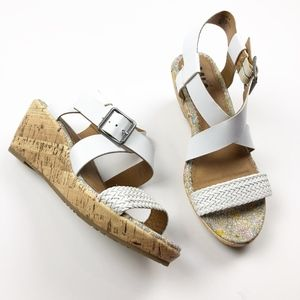 Mia Girl Youth White Strappy Cork Wedge Sandal
